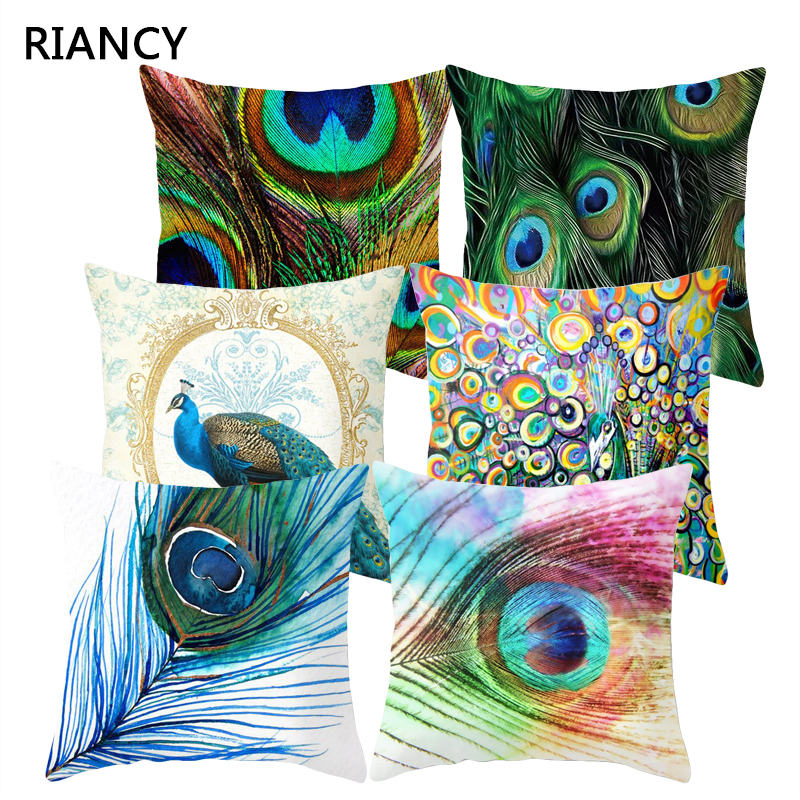 1Pcs Colorful Peacock Feather Polyester Cushion Cover Decorative Pillow For Sofa Seat Car Waist Cojines Home Decor 45*45cm 40826