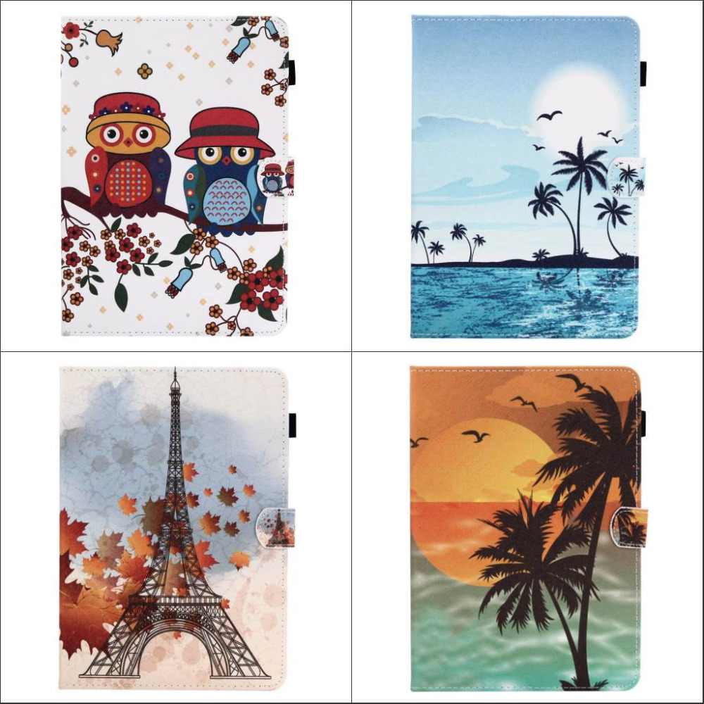 Fashion Flower Tree Owl wallet Card Slot Pu leather stand holder Cover Case for ipad air 2 for ipad air2 with screen film