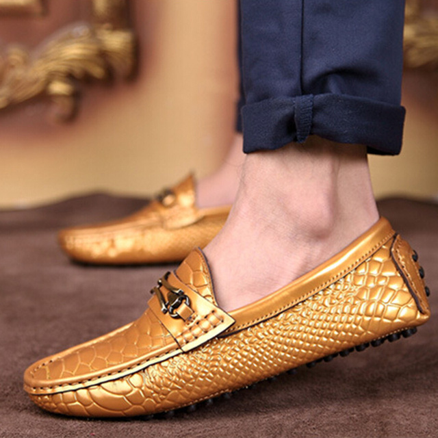 fb933fdc628 Spring Summer Fashion Male Moccasins Driving Shoes Men s Gold White Black  Flats Shoes Solid Color Split Leather Loafers