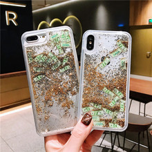 New  Glitter Liquid Quicksand US dollar money phone case for iphone 6 6S 7 8 Plus X 10 Dynamic liquid glitter Transparent Cover