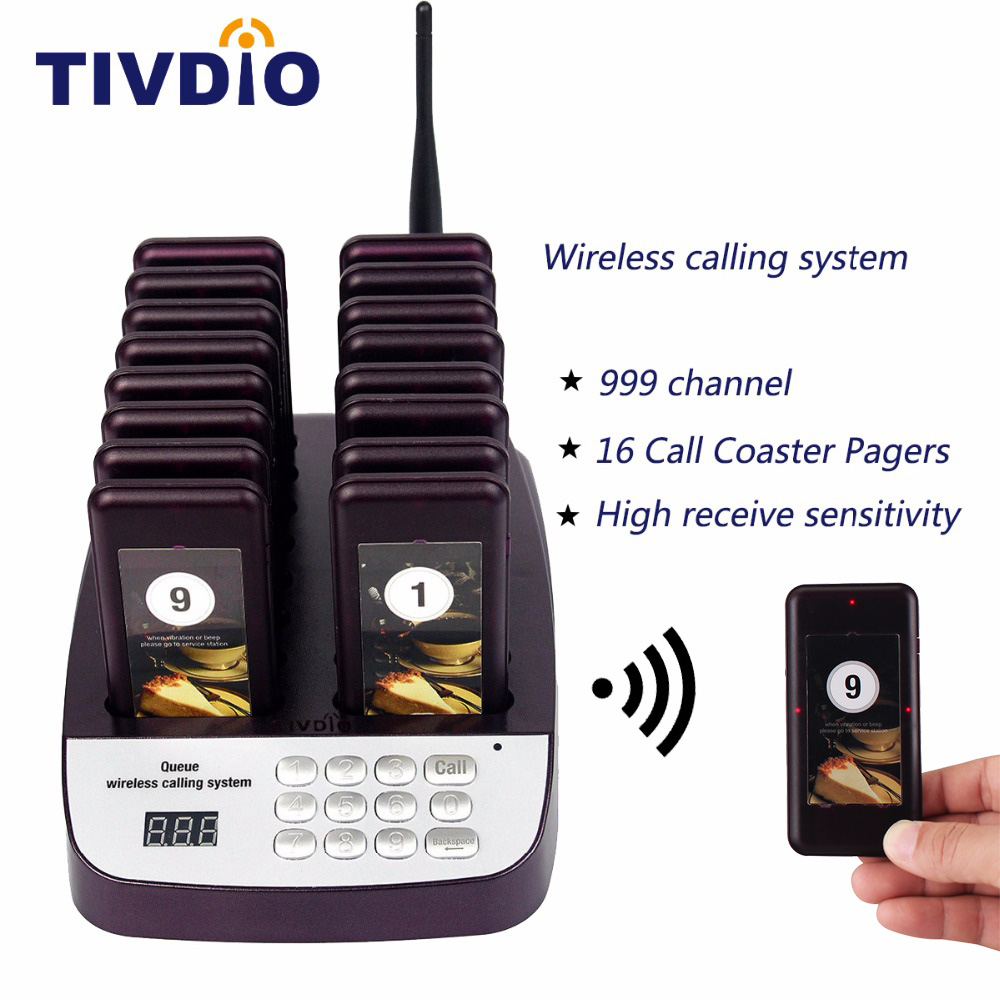 TIVDIO T-113 999 Channel Restaurant Pager Wireless Paging Queuing System 16 Call Coaster Pagers Restaurant Equipments F9403D 1 transmitter 20 coaster pagers chargeable restaurant pager wireless paging queuing system restaurant equipments f4475