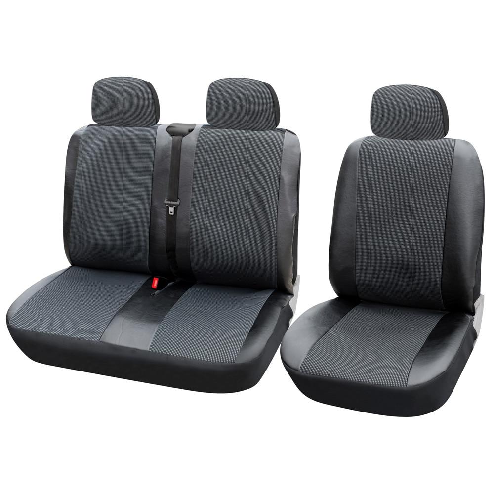 1 + 1 + 2 fundas de asiento cubierta de asiento de coche para transportador/Van Universal Artificial cuero camión Interior Accesorios