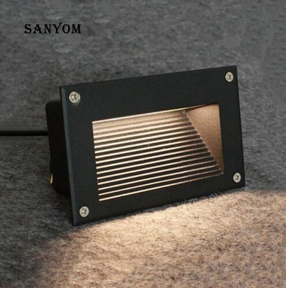 LED 6W Embedded Wall Light Outdoor Waterproof Step Lights Stairs Light Night Light Square Wall+Lamps Outdoor Lighting Project
