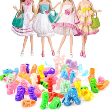 20 Pairs Mini Plastic Doll Decorative High Heeled Shoes Sandals Toy Accessories Decoration for Barbie Doll Accessories Toys Gift(China)