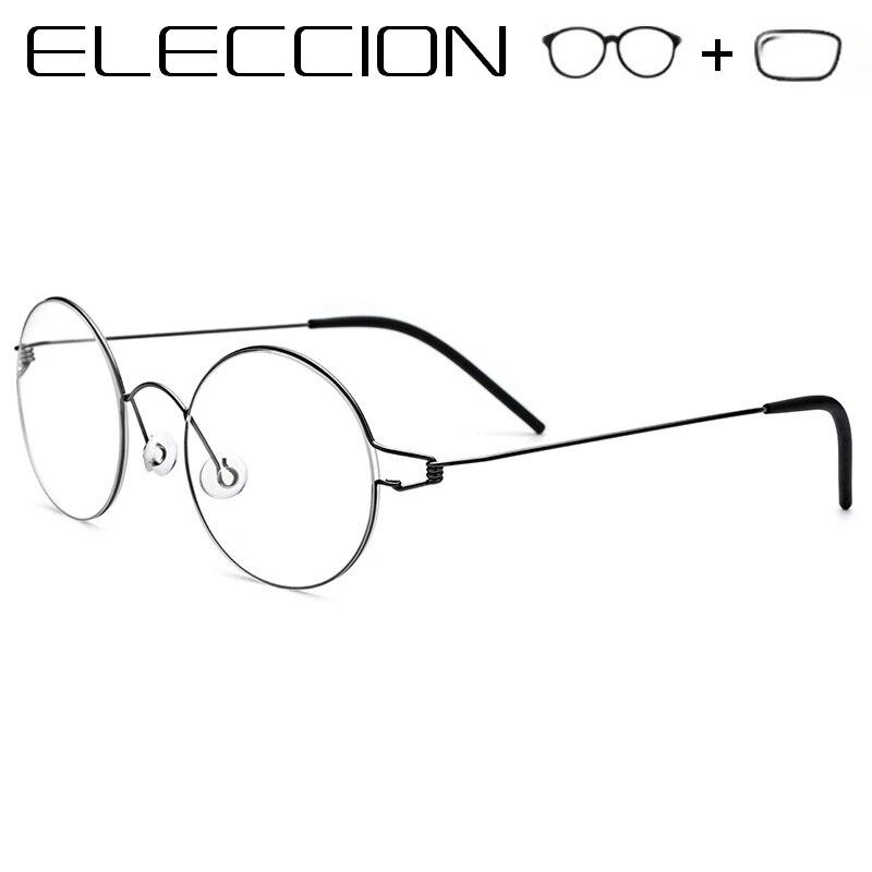 ELECCIÓN Ultraleves Prescrição Óptica Óculos De Armação Redonda Óculos de  Miopia dos homens Aro Sem Parafusos de Titânio Óculos Mulheres Coreano 0c2f8588e1