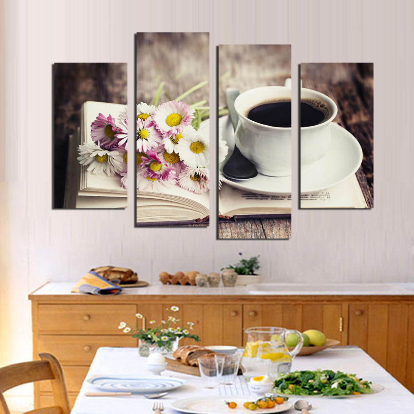 Free-shipping-4-piece-Frower-Coffee-Tea-Modern-Canvas-Print-Painting-Wall-Art-modular-pictures-Decor
