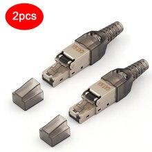 2 stücke CAT6A RJ45 Stecker Dropshipping Großhandel Metall Splitter 10 Gbps Geschirmt Bereich Verbindung Modulare Für Ethernet Netzwerk