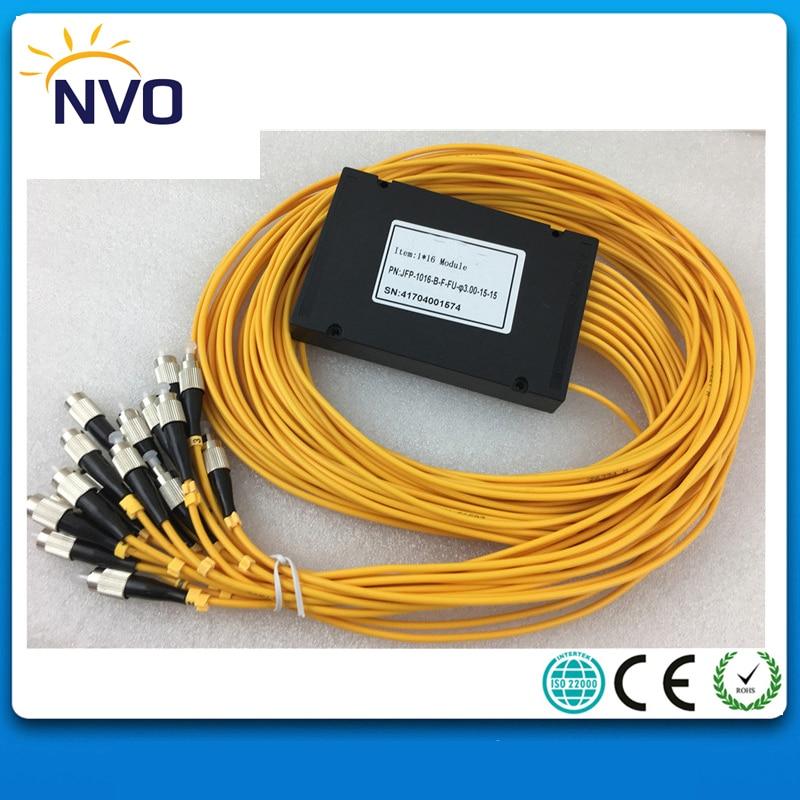 1*16 Fiber Optical PLC Splitter,3.0MM,1M,1*16 FC/UPC GEPON FTTH PLC Splitter FiberModule