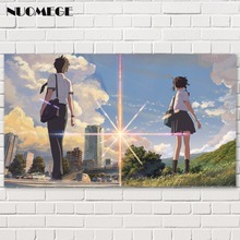 NUOMEGE Your Name Japanese Anime Movie Posters for HD Art Silk Canvas Poster Print Home Decor Painting 8x14 16x28 24x42 Inches