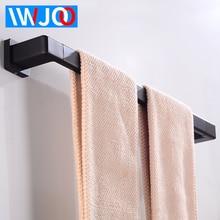Towel Bar Holder Aluminum Wall Mounted Bathroom Rack Hanging Black Decorate Restroom Clothes Robe
