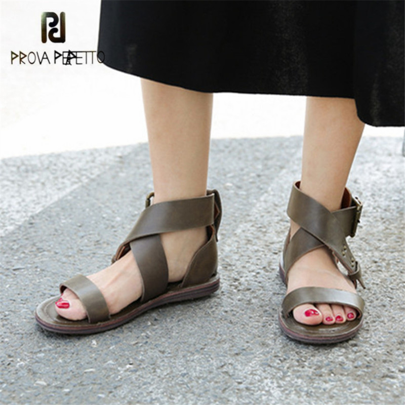 Prova Perfetto Cross Strap Women Gladiator Sandals Flat Beach Shoes Woman Female Casual Flats Sandalias Mujer Retro Footwear handmade rome gladiator sandals women flats fringed tie up woman sandals shoes fur cross strap pompom sandals sandalias mujer 94