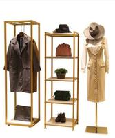 Shoe and Bag Display Shelf in Clothing Store Shop Window Display Shelf in Island Table Multi storey Display Shelf Golden Simple.
