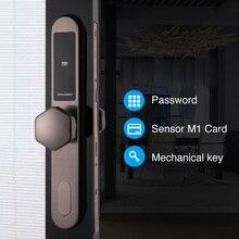 Cerradura de la puerta deslizante electrónica, teclado Digital inteligente con código sin llave cerradura de puerta, contraseña cerradura de puerta sin llave electrónica