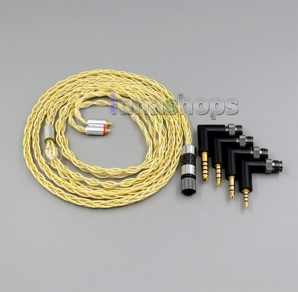 LN006218 4 で 1 プラグ 8 コア非常にソフト 7N OCC 純銀 + ゴールドメッキイヤホンケーブル Shure se535 se846 se425 se215 MMC  グループ上の 家電製品 からの イヤホン用アクセサリー の中 1