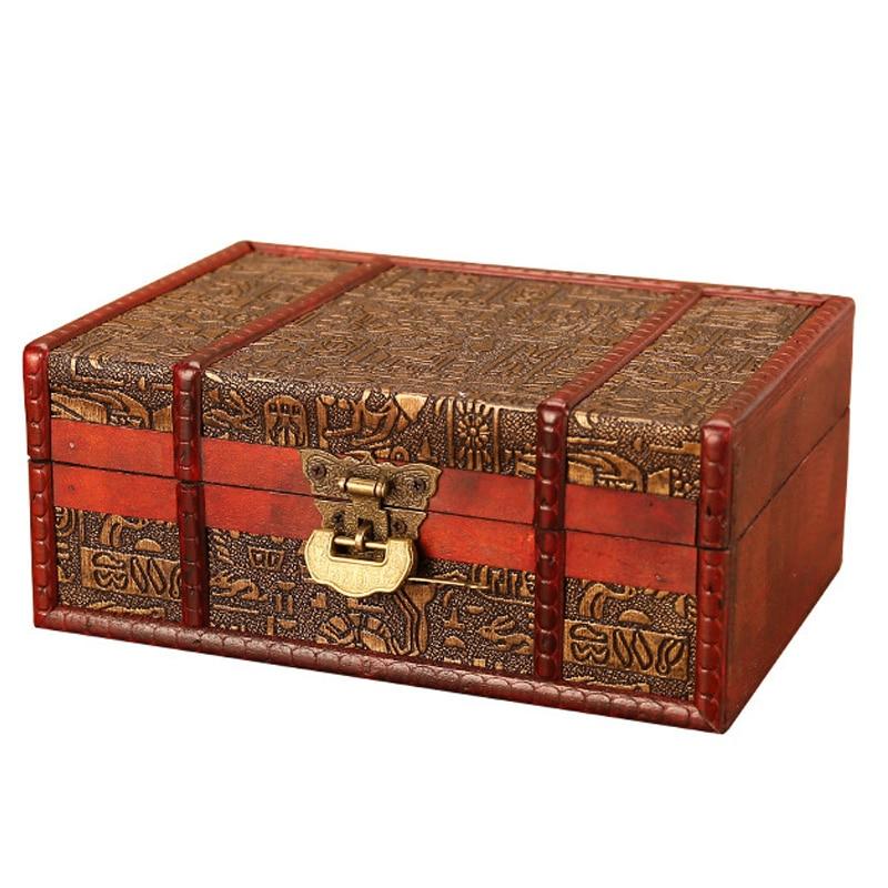 #1 Vintage Wooden Storage Box Large Size Book Jewelry Storage Box Organizer Decorative Treasure Stash Box Old-Fashioned Antique Style for Birthday Parties Wedding Decoration