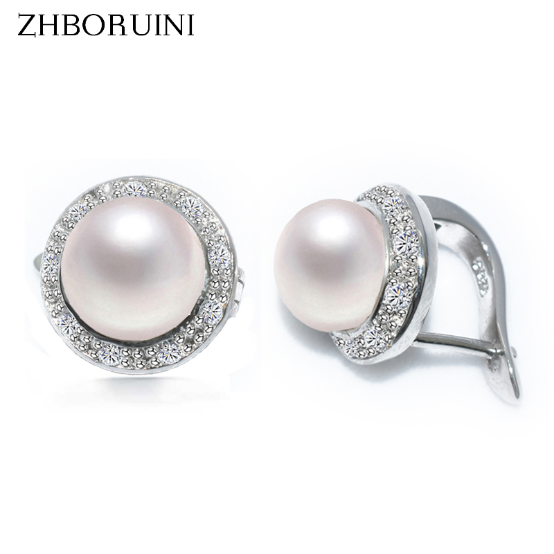 ZHBORUINI 2017 New Pearl Earrings 925 Sterling Silver Jewelry Vintage Style Natural Freshwater Pearl Stud Earring For Women Gift copper jewelry leopard head hanging pearl stud earrings tiger head green rhinestone black stud earrings for women
