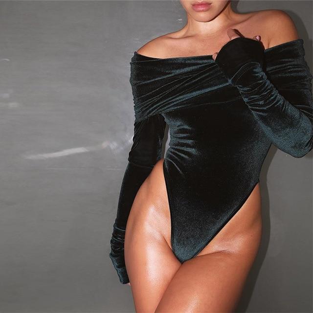 Irritar bodysuit veludo Sexy das mulheres fora do ombro partido bodycon jumpsuit romper Feminino elegante manga comprida de slash neck top M/L/XL