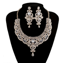 India Style Bridal Necklace earrings sets Gold Plated Crystal Rhinestone Jewelry Sets For wedding Party Dress Accessories