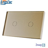 Good Quality Bingoelec US AU Standard Gold Crystal 2gang 2way Toughened Glass Panel Touch Switch Electric