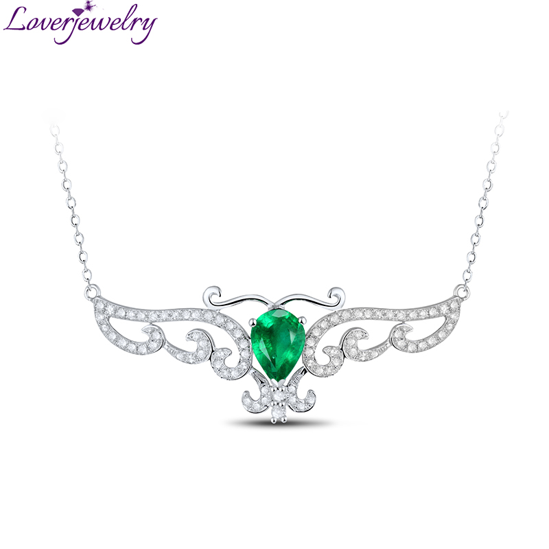 Solid 18kt White Gold Diamond Natural Green Emerald Pendant Necklace with Diamond Jewelry for Mother Loving Gift yoursfs heart necklace for mother s day with round austria crystal gift 18k white gold plated