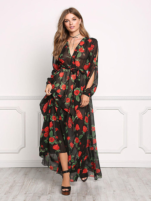 b385e29fc3d6 Fashion Woman Sexy MONSOON Maxi Floral Dress Lady Summer Prom Empire Dresses  Hollow out shoulder V Neck Red black Flower HN003