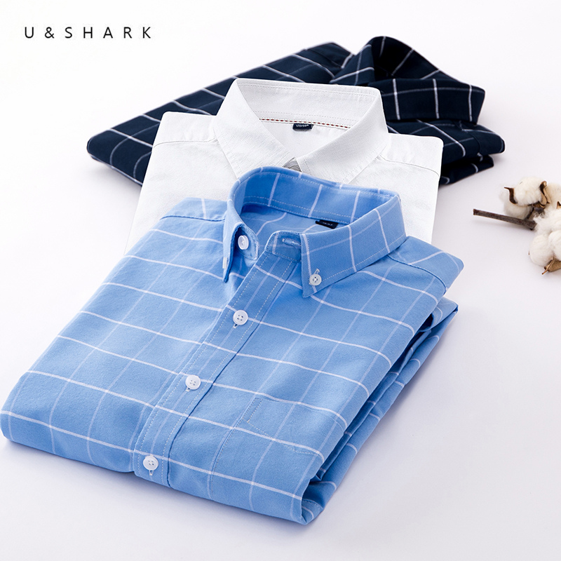 U&SHARK Men Oxford Casual Shirt Long Sleeve Slim Fit Comfortable Plaid Shirt 100% Cotton Mens Dress Shirts Brand Clothing Male