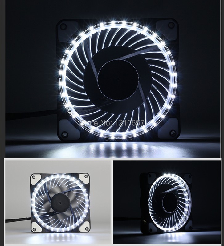 10PCS lot Eclipse Hydraulic 120mm DC 12v 3+4pin LED Computer Case Fan For Radiator White reliable dropshipping do csv quiet 120mm dc 12v 3 4pin led effects clear computer case fan for radiator mod