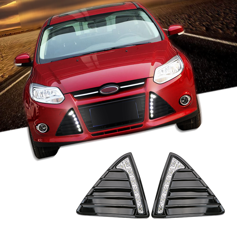 2Pcs/Set Car Daytime Running Lights White Waterproof Auto LED DRL Daylight Fog Lamp For Ford Focus 3 MK3 2012 2013 2014 DC 12V 2pcs set car led drl daylight drl led daytime running lights fog lamp for ford focus 2 sedan 2009 2010 2011 202012 2013 2014