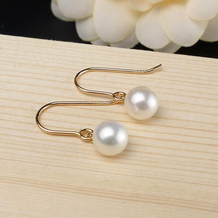 925 argento reale naturale grande luminoso speciale 8 9 MM d'acqua dolce naturale della perla orecchini orecchino femminile Coreano semplice ed elegante argento - 3