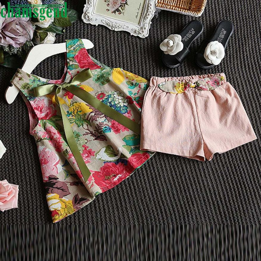 CHAMSGEND 2PCS Toddler Kids Baby Girls bow with a blazer Outfit Clothes Floral Vest T-shirt+Shorts Pants Set may 25 P30 catimini girls t shirt 04 25
