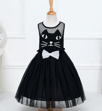 Girl Dress Summer 2017 Children Dresses Princess Party Costume Girls Clothes Kids Kitty Cat Black Dresses for Girls Casual Wear