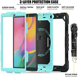 Image 2 - Case for Samsung Galaxy Tab A 10.1 2019 SM T510 SM T515 T510 T515 Hybrid Armor Protective Case with 360 Rotating Stand& Strap
