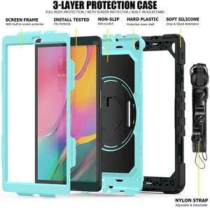 Image 2 - Чехол для Samsung Galaxy Tab A 10,1 дюйма, фотосессия 2019 дюйма, модель T510, T515, гибридный армированный защитный чехол с поворотной подставкой на 360 градусов и ремешком