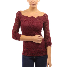 все цены на t shirt women Lace Stitching Solid color long sleeves  Slash neck Off Shoulder woman tops vogue mesh top plus size 4XL онлайн