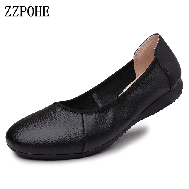 ZZPOHE 2017 spring soft bottom comfortable women shoes flat round head  casual women shoes work black shoes size35 39 40 41 42 43 6449620f1