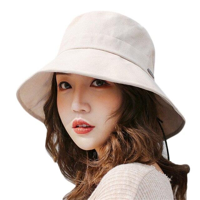 d0e0c7fc102 Summer Sun Hats for Women Fashion Design Foldable Large Brimmed Fisherman Hat  Spring Women Cotton Bucket Cap for Fishing Beach