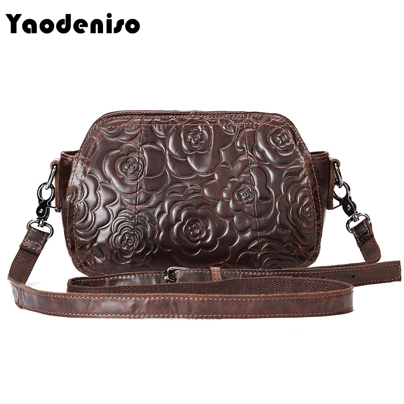 Yaodeniso Fashion Embossed Women Messenger Bag Genuine Leather Female Bag Vintage Shoulder Bags Chinese Style Ladies Handbag