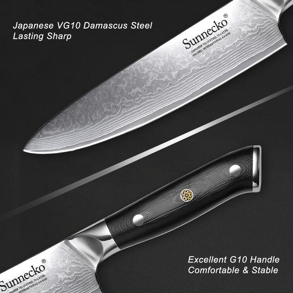 Image 4 - SUNNECKO 5PCS Kitchen Knives Set Chef Bread Paring Santoku Utility Knife Japanese Damascus VG10 Steel Cooking Tools G10 HandleKnife Sets   -