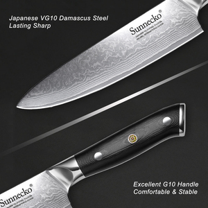 Image 4 - SUNNECKO cuchillo de Juego de cuchillos de cocina de acero japonés Damasco VG10, herramienta de cocina, 5 uds.