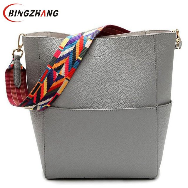 Famous Designer Women Leather Brand Handbags Purses Colorful Shoulder Strap Large Capacity Bucket Casual Tote Bag Bolsos L4-2808