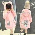Caráter encapuzados crianças jaqueta de lã quente de malha patchwork dos desenhos animados crianças casacos de menina 2016 outono roupas de inverno para meninas