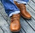 2016 Ocasionales de los hombres Zapatos 100% Cuero Genuino de los planos de conducción zapatos de los hombres ocasionales 3 colores