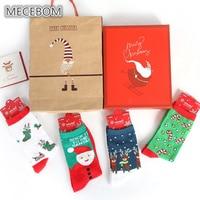 MECEBOM 2017 חדש חג מולד גרבי סט 4 piars/גרבי קרסול נשים חורף תיבת מתנת חג המולד חמוד כותנה עבה גרבי cs1