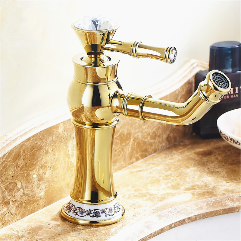 Free Shipping High End Gold Bathroom Faucets With Rhinestone - Brass or gold bathroom faucets