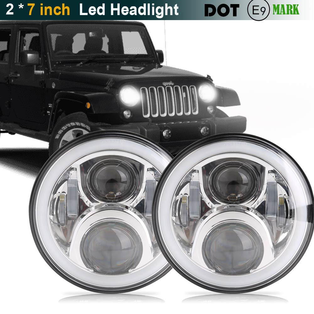 For Hummer H1 H2 Led Headlight 60w 7 Inch LED Headlights High Low Beam Angel Eye DRL Amber Turn Signal for Jeep Wrangler JK Lamp czg 7502 7 inch round led headlight 50w high low beam with amber drl 7 led head light for jeep wrangler for harley motorcycles