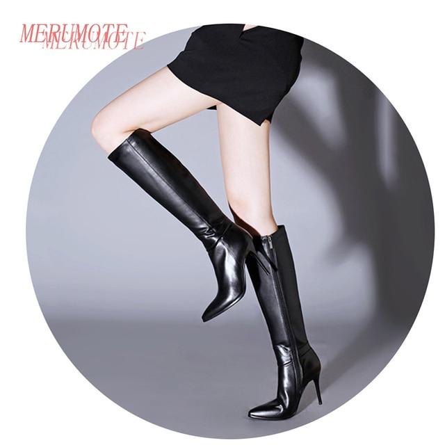 c53603edfac MERUMOTE Women s Middle Thin Heel Geunuine Leather Winter Knee High Zipper  Boots