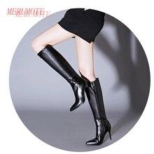 MERUMOTE Women's Middle Thin Heel Geunuine Leather Winter Knee High Zipper Boots