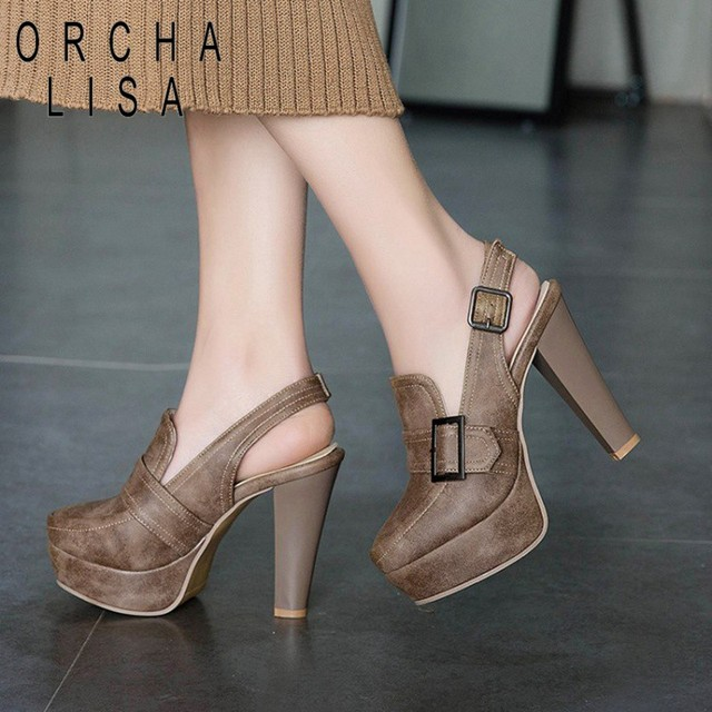 66882ec9babc ORCHA LISA Spring Ankle Boots High Heels Sexy Ladies pu Leather Platform  Booties brown 12cm heeled party Shoes plus size 44 46