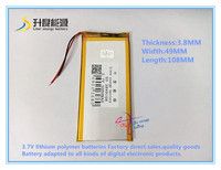 3.7V 3000mAH 3849108 Polymer lithium ion battery for tablet pc power bank MP4 GPS CELL PHONE
