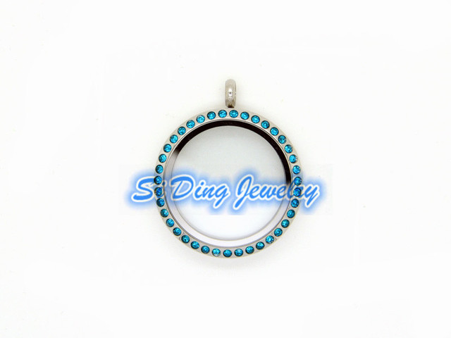 New arrive 30mm stainless steel floating locket pendant silver new arrive 30mm stainless steel floating locket pendant silver round screw open with blue crystal glass aloadofball Choice Image